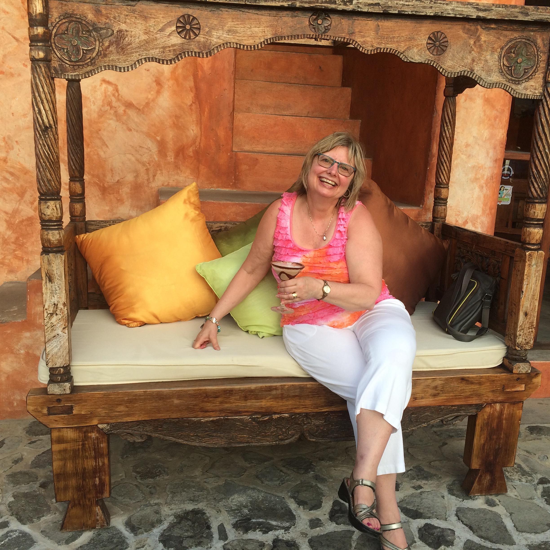 Doreen enjoying one of the delicious chocolate cocktails at La Luna Resort in Grenada.