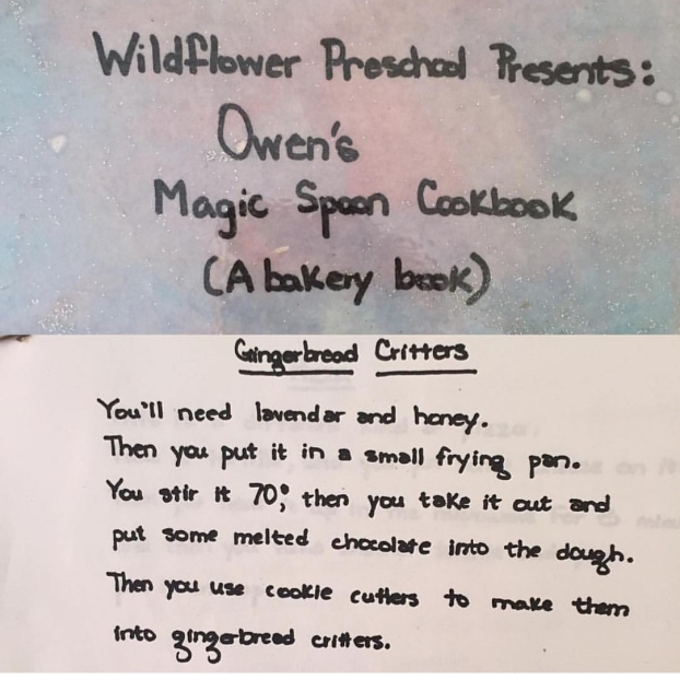 """""""Looking for a different recipe, I found this: Owen's contribution to his personal cookbook. Even 16 years ago chocolate was an important ingredient in our family psyche."""" -Sarah Hart"""
