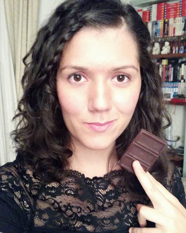 The Chocolate Journalist enjoying fine chocolate, photo by Sharon Terenzi