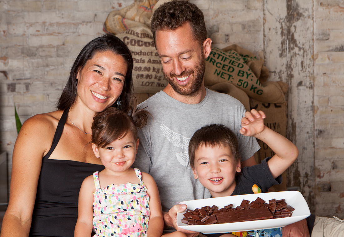 Lots of love and chocolate!Founders of Xocolatl Small Batch Chocolate Elaine Reed, left, Matt Weyandt, right and their children Photo by Xocolatl Small Batch Chocolate