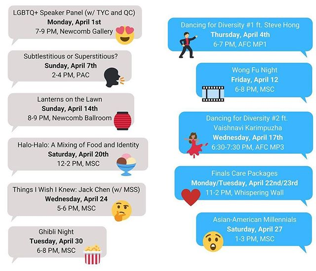 Look at all the upcoming events we have this month!! #apahm #SubtleAsianHeritage #asuuva