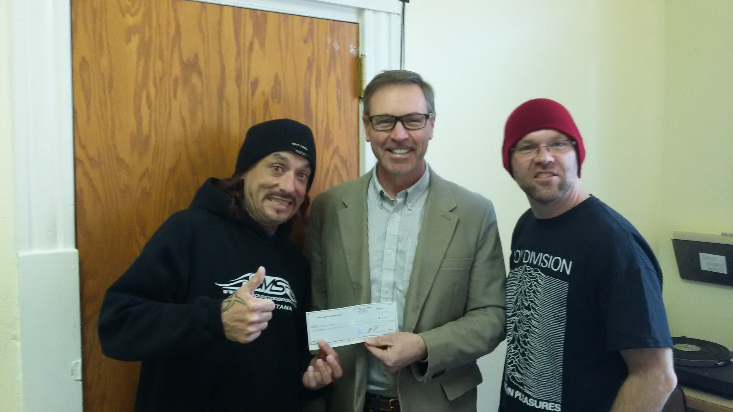 JIM AND GLENN ACCEPT THE BNSF CHARITABLE DONATION