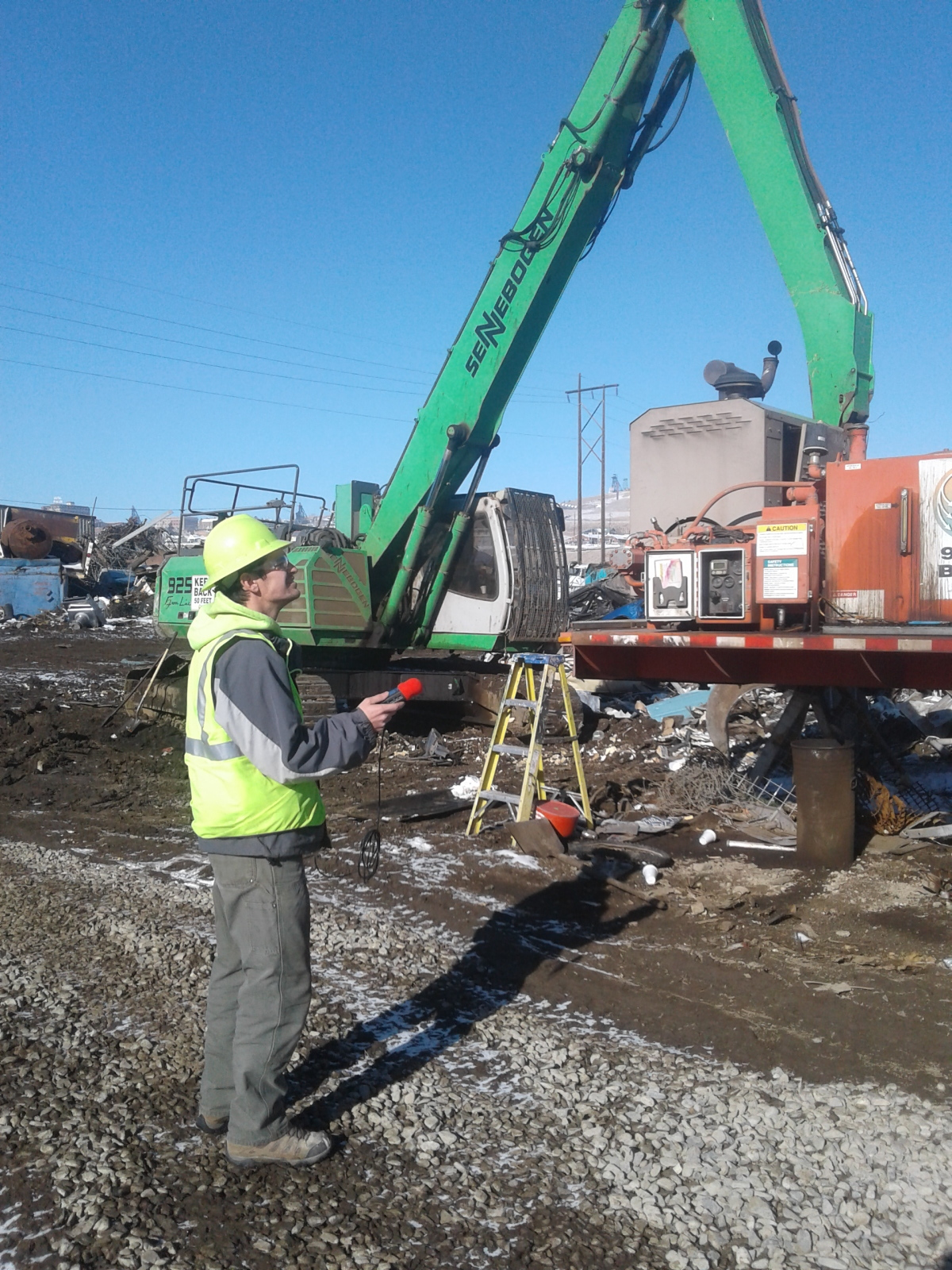Clark Grant recording the crusher at Pacific Steel in Butte