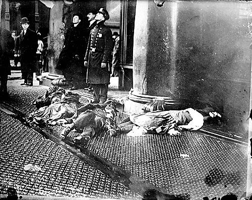 Sidewalk outside the Triangle Shirtwaist Factory after the March 1911 fire. Courtesy Franklin Delano Roosevelt Library