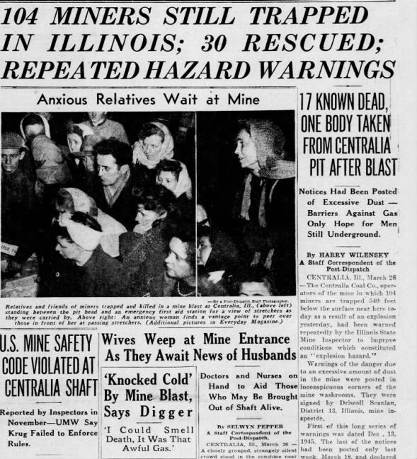 Centralia, IL newspaper from 1947