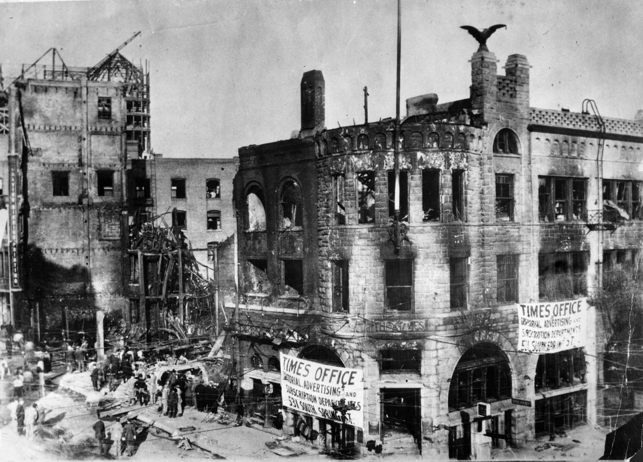 LA Times building in 1910, after bombing
