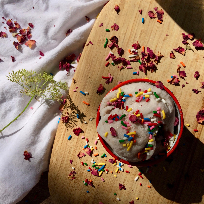 Coconut and Rose Petal Vegan Ice Cream No machine
