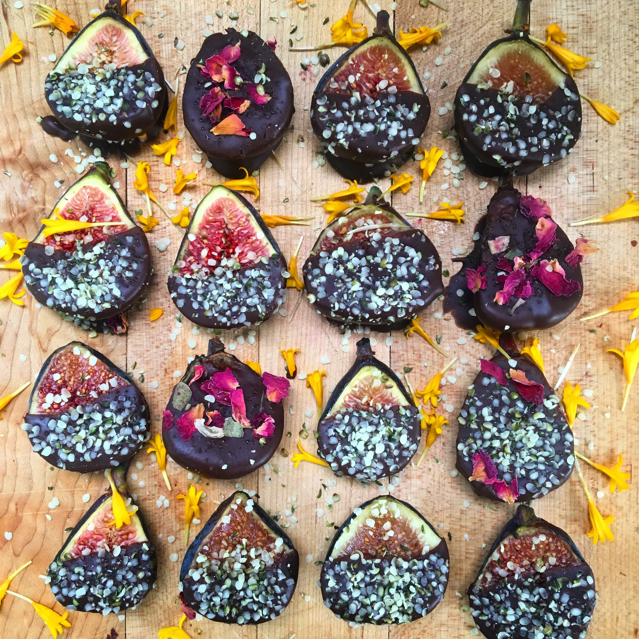 Chocolate Covered Figs with Hemp Hearts