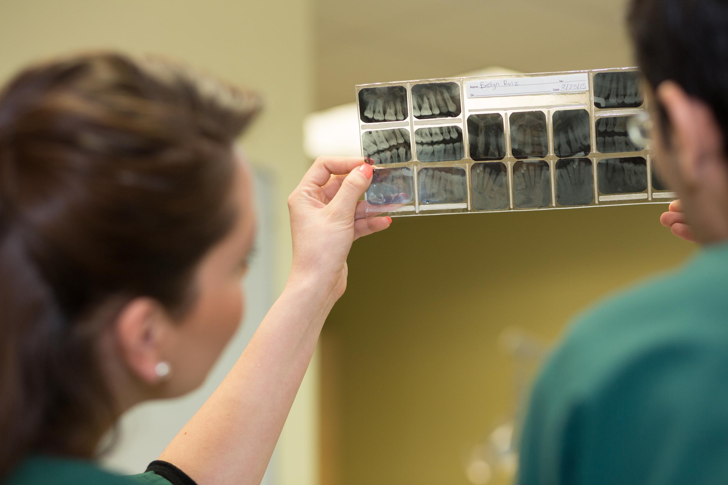 NYSMDA Teacher and Students examine XRay of Teeth
