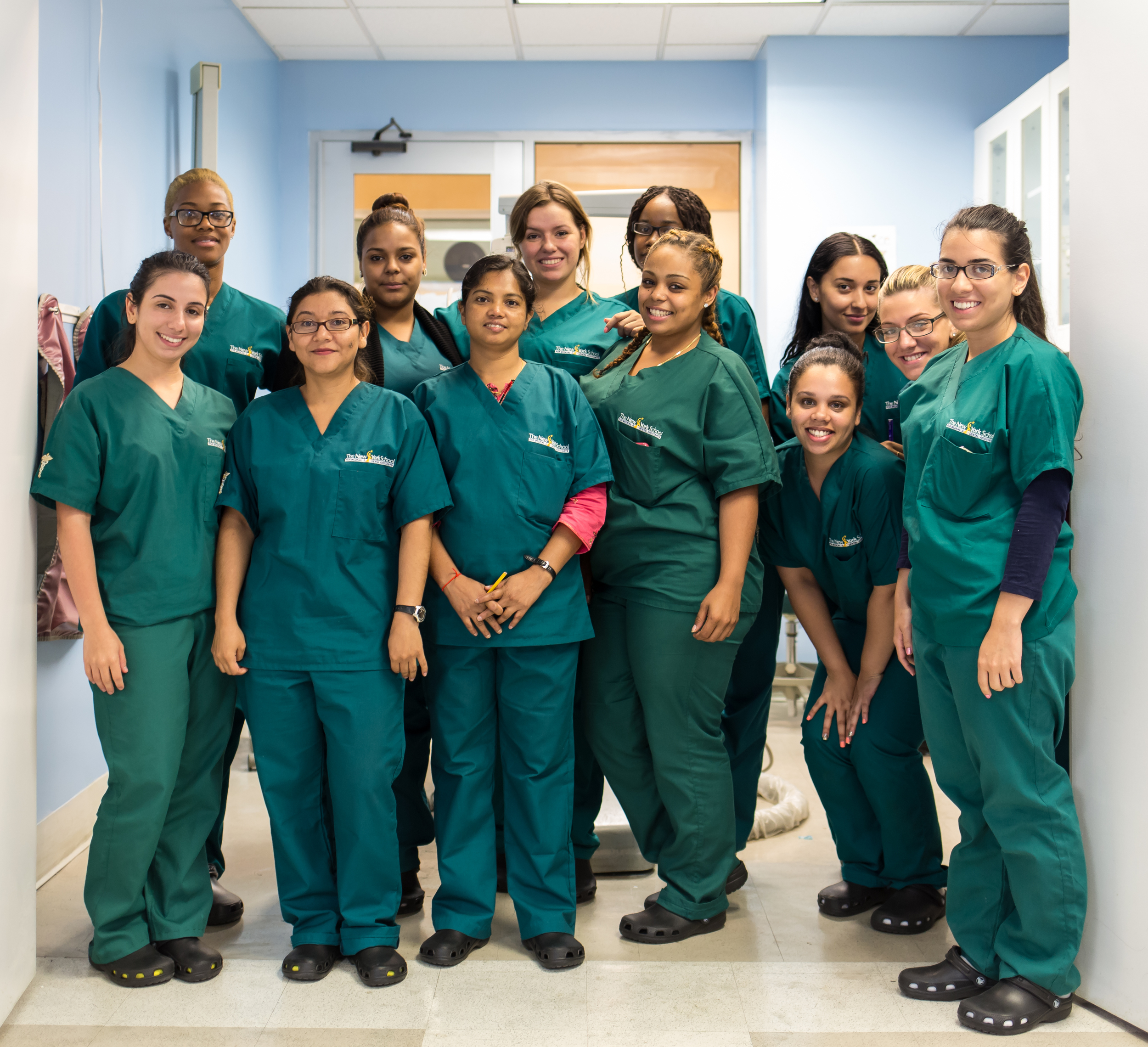 dental assistant students outside nysmda classroom