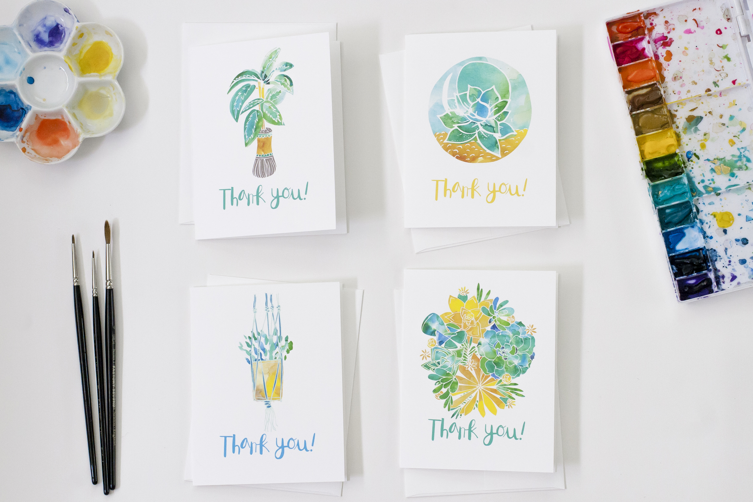 House plants set of 8 greeting cards