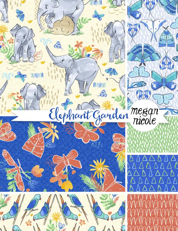 elephant garden surface pattern illustration for licensing