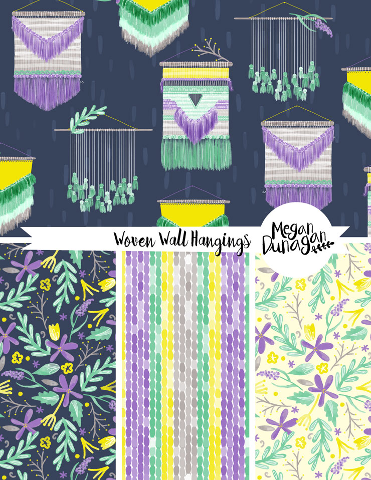 diy yarn wall hanging surface pattern megan dunagan