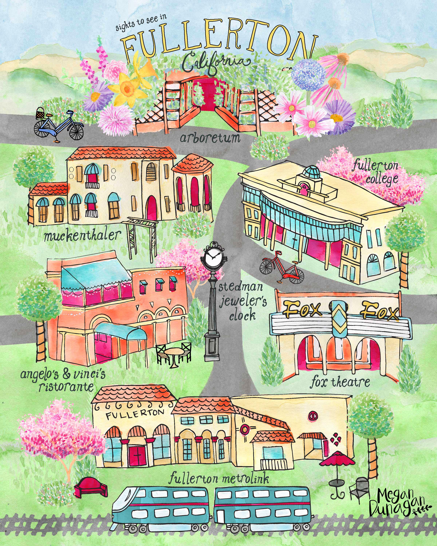 Illustrated Map of Fullerton CA