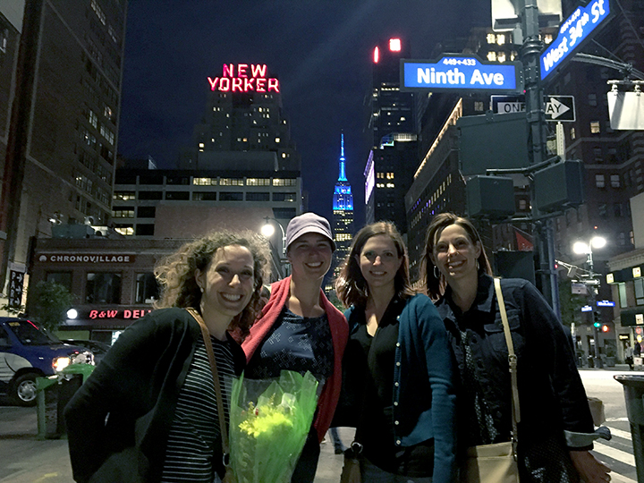 Brooke, Betsy, me, Katherine headed back to our Airbnb after grocery shopping. We got fresh flowers for the table! Oh yeah, and the Empire State building. No big. Thanks random (actually not creepy) guy for volunteering to take our photo!