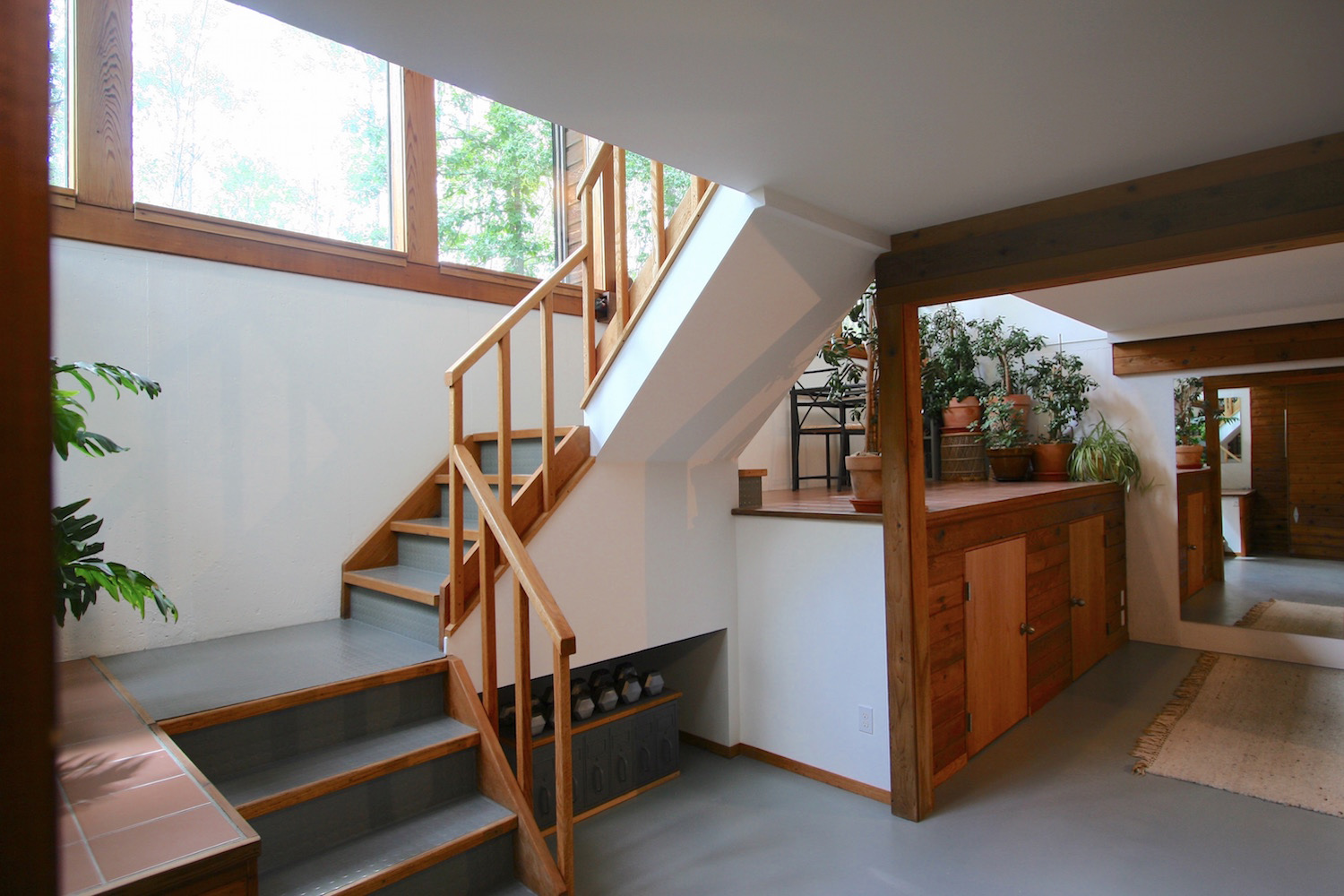 View (westward) of the lower level from the bottom of the stairs. Here you can see the two doors providing access to the substantial storage area below the larger  greenspace .