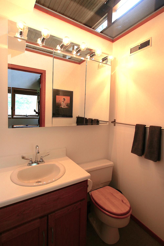 The upper bathroom...