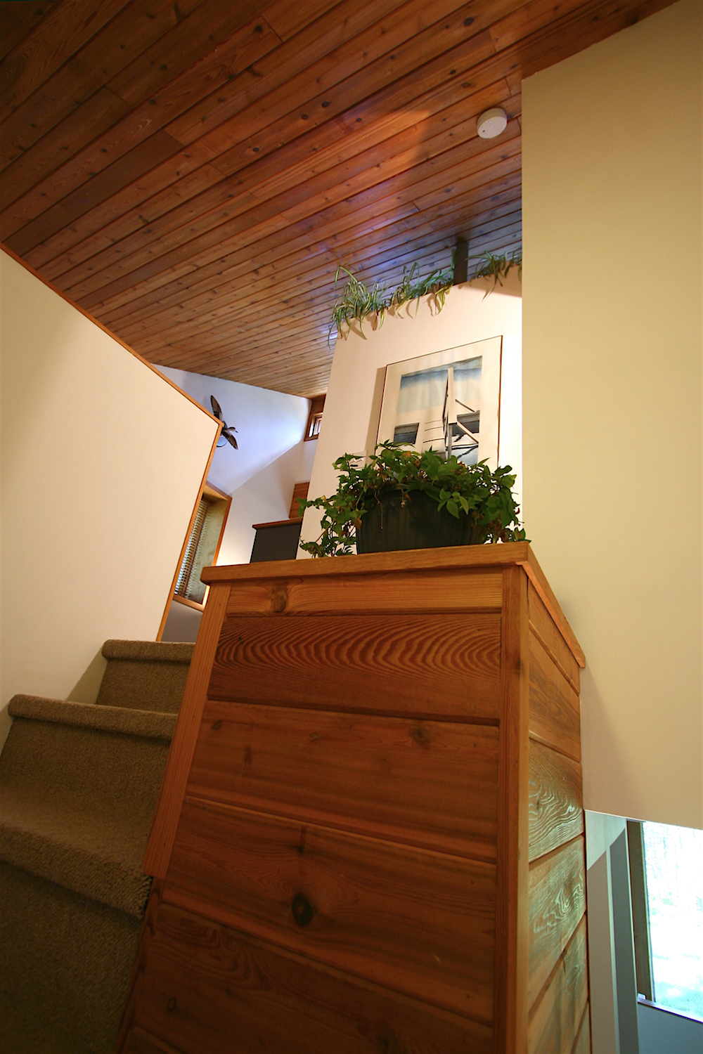 The semi-circular staircase from the living area to the upper level...