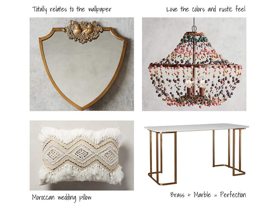 Mirror  |  Chandelier  |  Pillow  |  Desk