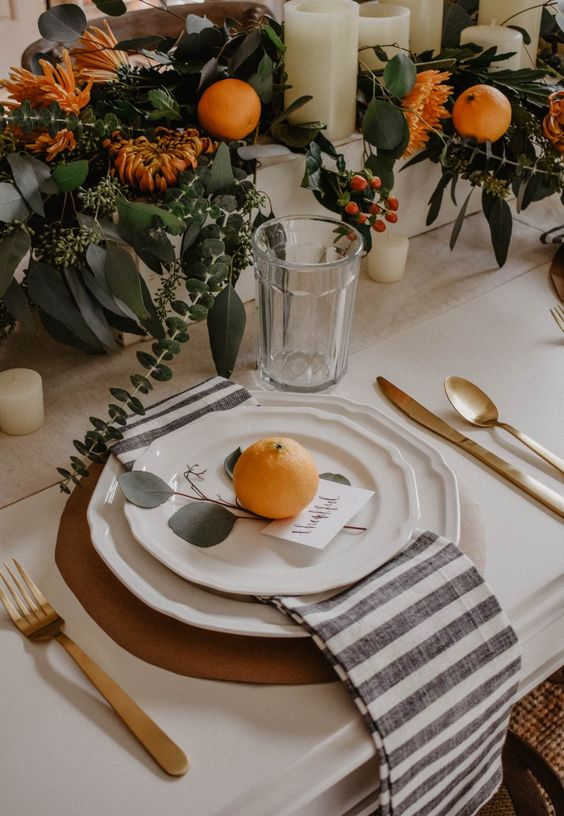 I have a soft spot for oranges since we used them in our wedding! Love this organic modern vibe  VIA