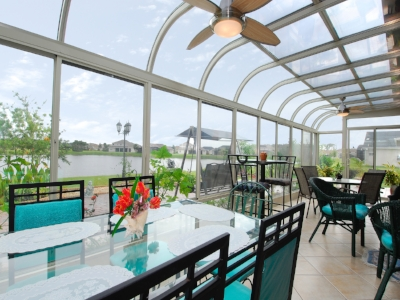 Curved Eave Sunrooms   Made in ALUMINUM & WOOD