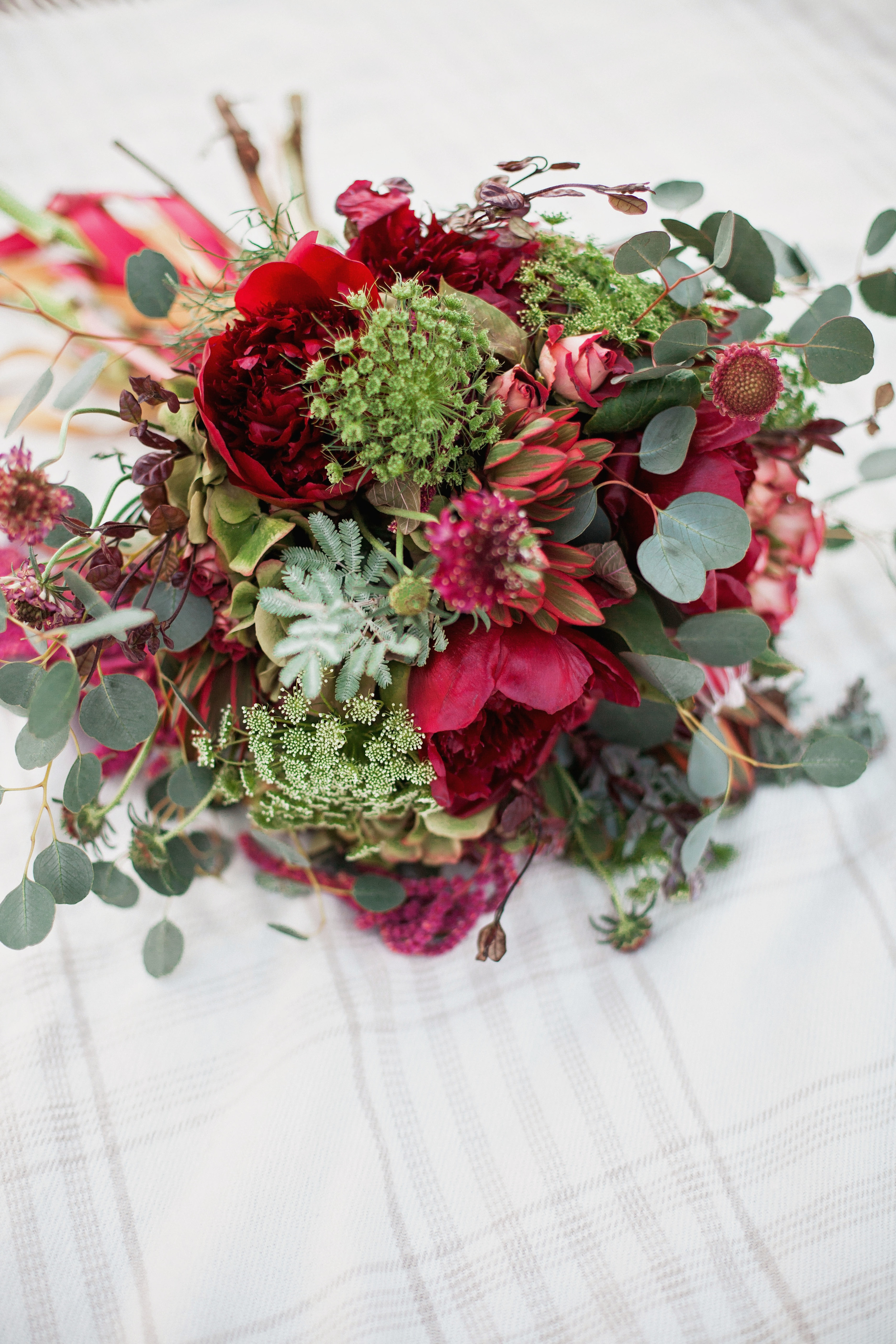 Marsala Bridal Bouquet with Peonies