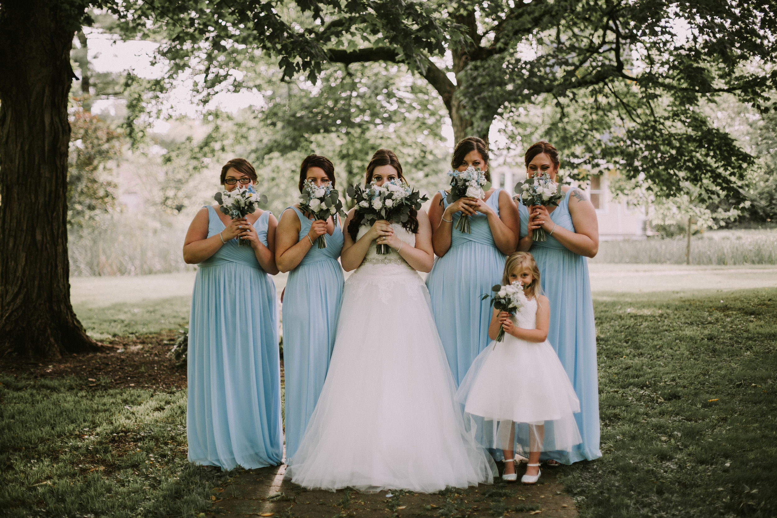 Blue and White Bridesmaids