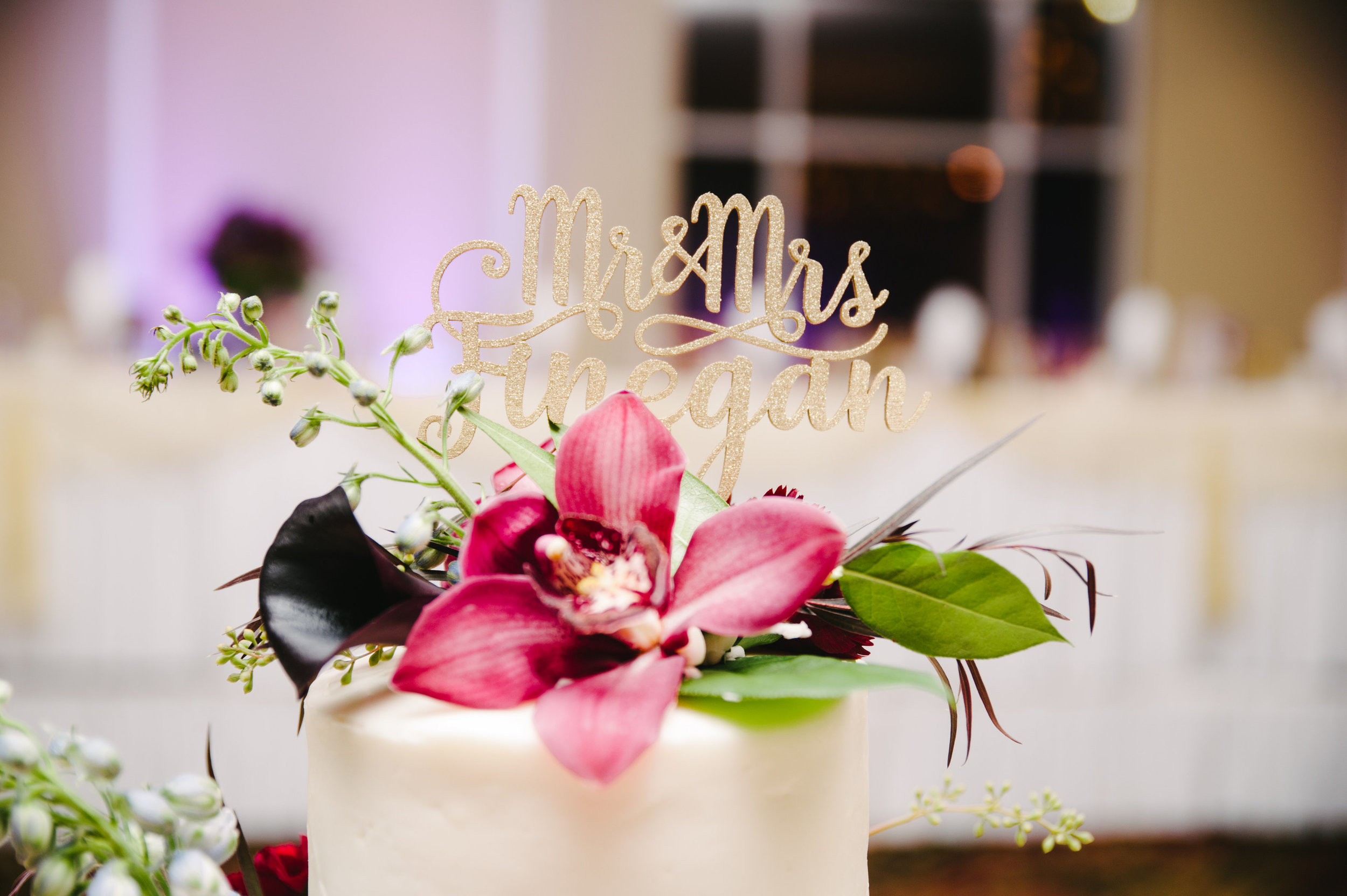 Jewel Tone Orchid Wedding Cake