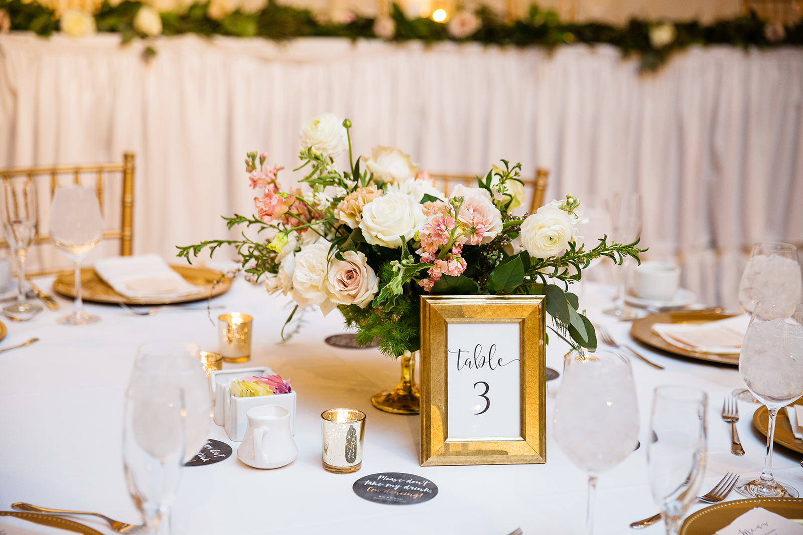 Blush and white compote centerpieces