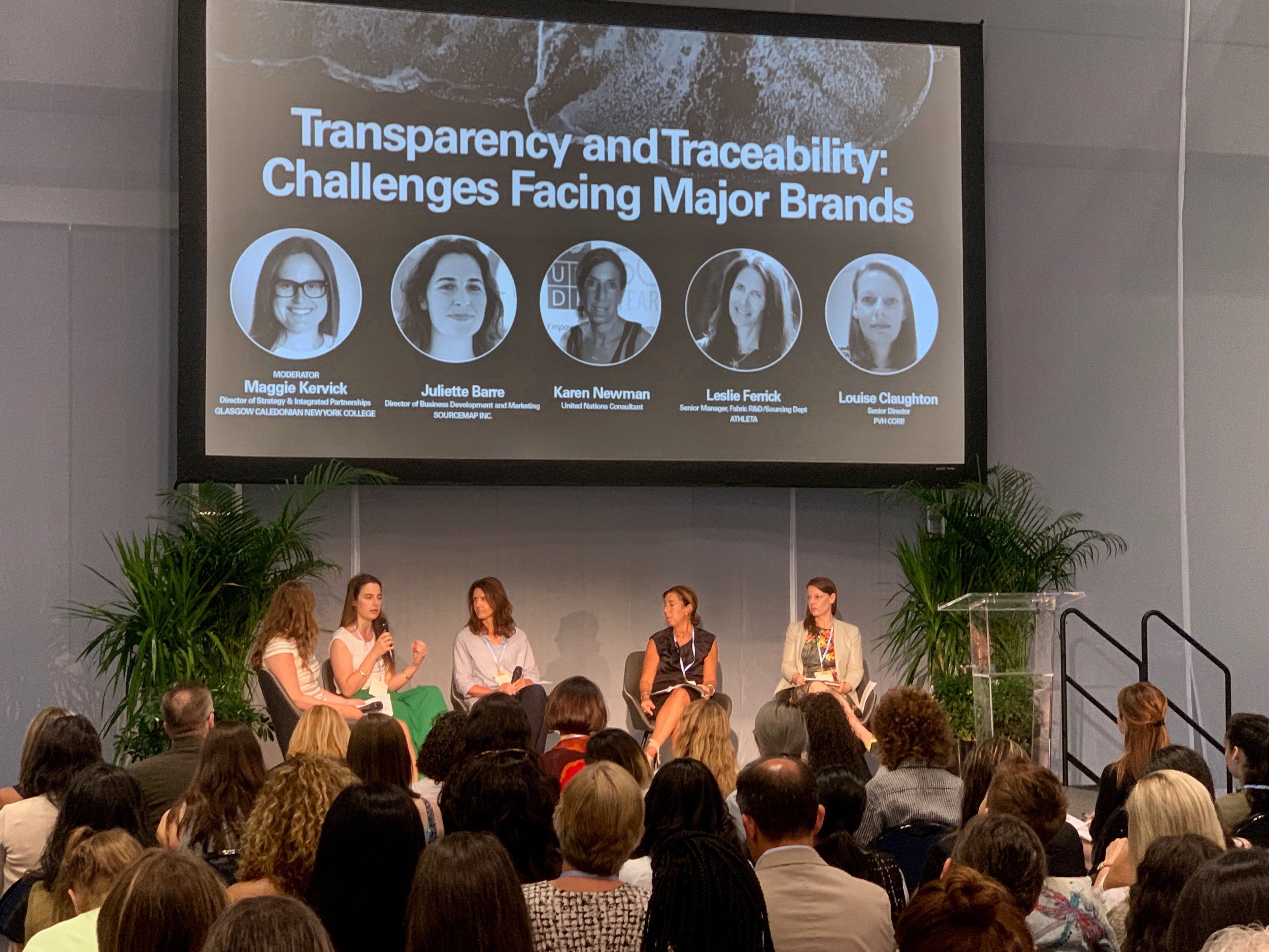 Panelists from left to right: Maggie Kervick (GCNYC Director of Strategy & Integrated Partnerships), Juliette Barre (Director of Business Development and Marketing, Sourcemap), Leslie Ferrick (Senior Manager of Fabric R&D/Sourcing Dept., Athleta), Karen Newman (United Nations Consultant), and Louise Claughton (Senior Director, PVH Corp.)