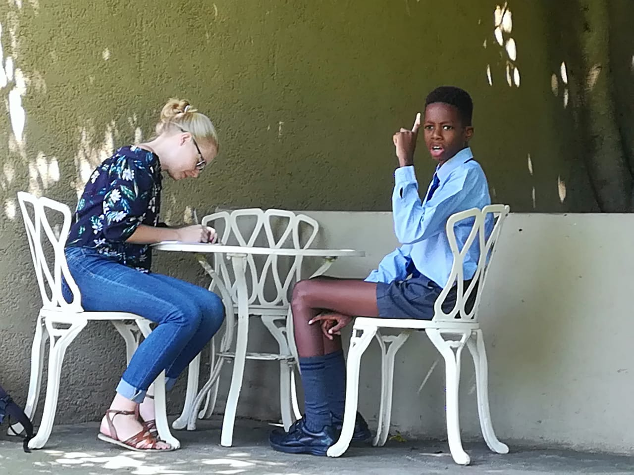 Above: Olufemi Oyeka being interviewed by Rosebank Killarney Gazette's Sarah Koning.