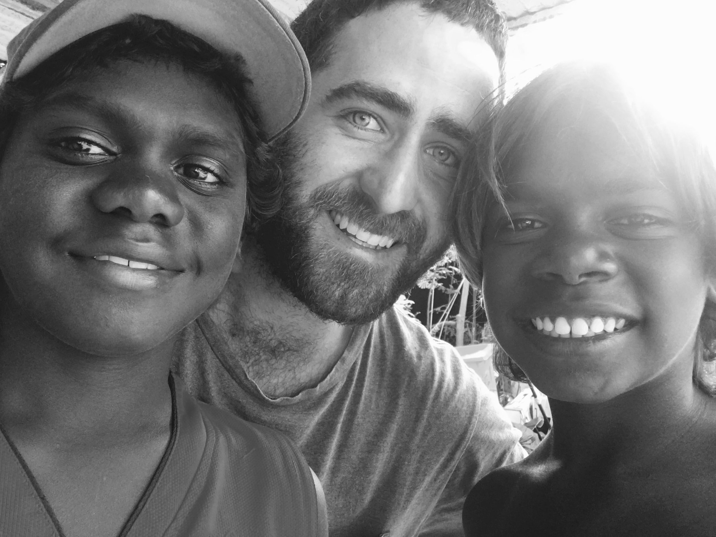 Together with two of the kids at Birritjimi (Wallaby Beach).