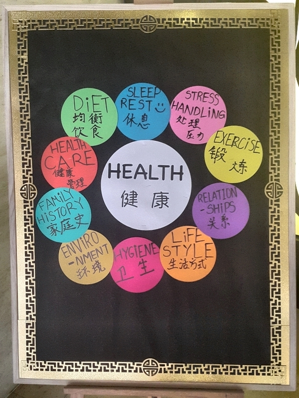 Students from our Library Club created this fun display board set outside our                                library to promote Health Week