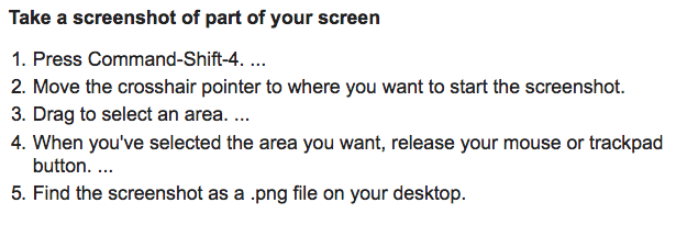 Instructions for Mac users: How to take a screenshot of just a section of your screen (instead of the entire window which often includes bits you don't want!)