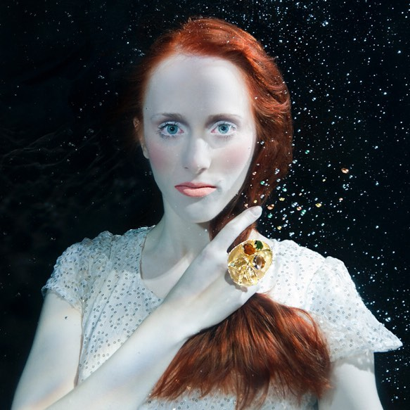 Bejeweled.  With the wonderful @aricampari  Make Up @sadeer_behnam.  #underwaterphotography #underwaterfashionphotography #beautyphotography #jewelry #redhair