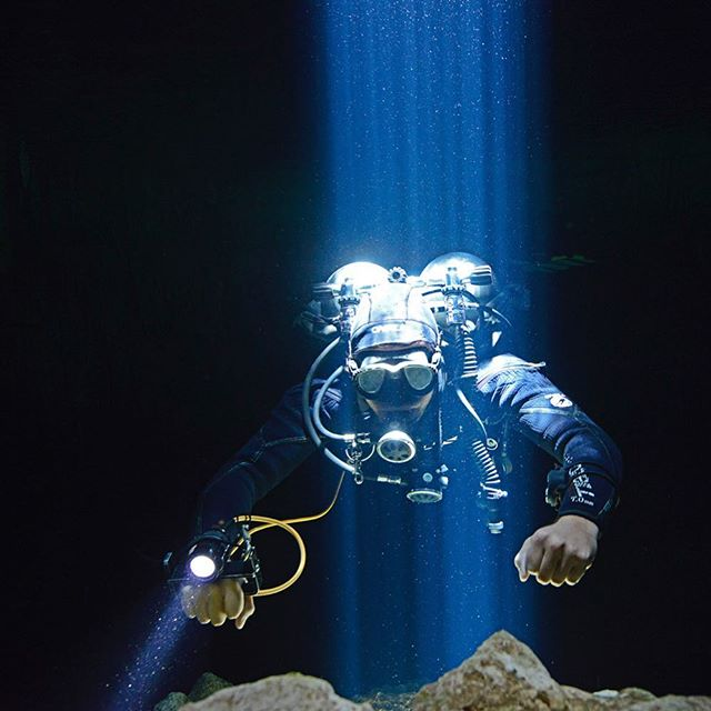 Diver in cenote Tajma Ha, Yucatan.  #underwaterphotography #cenotetajmaha #cenotes #yucatan #mexico #diving #lightbeam