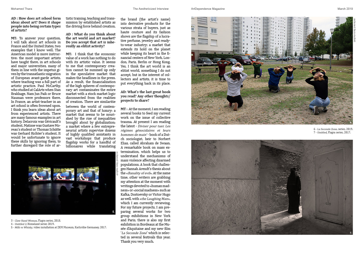 Mohamed Thara  The Aestheticized Interview  by Kisito Assangni -  ArtDependence Magazine , march-avril 2019.