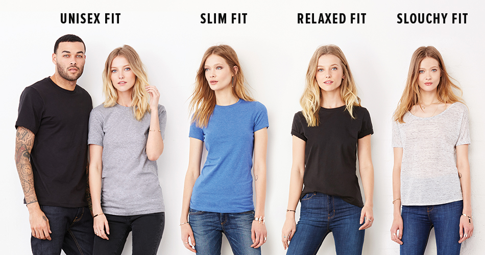 """At BELLA+CANVAS, we always say there are two crucial factors to consider when selecting a tee—the  fit and the  feel . In this guest post, we are giving you some insight into all the things that come into play when evaluating a t-shirts fit, which in our opinion is a make it or break it factor when it comes to your t-shirt being worn. After all, what's the point of putting your awesome and thoughtful designs on a t-shirt the end customer doesn't want to wear?  Men's and Unisex Fits  Oftentimes men's and unisex tees are lumped into one category. Why is this? Well, the answer is pretty straightforward—Ladies can fit into men's tees, but men can't fit into ladies' tees. So if a company only wants to create one shirt, then their best option is to go with the men's-oriented unisex styles that you see prevalent in the market. But while women can make do with a """"unisex"""" style, these tees aren't ideal in terms of fit (we'll get come back to this topic!).  So what makes a good fitting men's tee? First and foremost, side-seams. There are two basic types of construction when it comes to a basic tee—side-seamed and tubular. Tubular tees are cheaper to construct because they require less sewing. But while you may shave some pennies off the price, tubular tees don't really fit right on people because our bodies aren't tubes.  On the other hand, side-seamed tees create the tailored structure a tee needs to fit correctly. Although more expensive to make, these are the only type of tees you'll find in a retail store, so selecting a side-seam tee is a no-brainer in today's day and age.  Once you have narrowed down to a side-seamed tee, you'll have to choose between a boxy fit and a more  tailored fit . This really comes down to personal preference. Men's fashion has swung in the direction of a more slim-fit look, but we are seeing a resurgence in oversized styles—as evident by the popularity of the  Men's Long Body Tee .  Ladies'Fits  20 years ago, a women's market did not exist in t"""