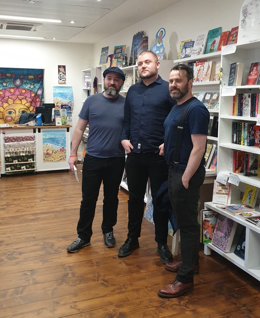 (L-R: Paul Scraton, me , Ben Myers) The Book Corner, 18/04/19