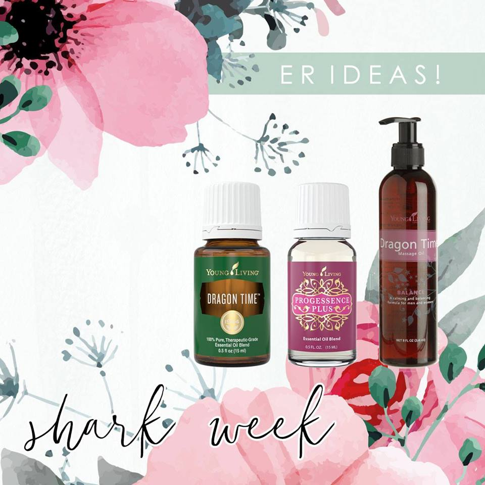 Essential Rewards Ideas - ER IDEAS.SHARK WEEKWe all know about Shark Week.So many (not)lovely things come on this week month after month....I am sure we could all write out a long list of these.Lets start to support ourselves this week. Everyone will thank us later!When I first started my journey with oils I had all kinds of things happening and didn't really how they were all connected. SO many things- skin related, hormone related all screaming at me that I was not balanced. Now 3 years later I feel like a different person, truly._________________________________________________Three FAVORITES are pictured below!+ DRAGON TIMEThis oil is the perfect choice for supporting normal, healthy emotions during the female monthly cycle. Diffuse it. Put it on your feet or right over your abdomen. Inhale it like your life depends on it. We've all seen that dragon roar, right?! Trust me, those around you (and you especially!) will thank you!+ DRAGON TIME MASSAGE OIL Gently massage onto lower abdomen and lower back as needed.+ PROGESSENCE PLUSwe have tons of GREAT info on PP ( you can start here http://bit.ly/2rCREAM)....I just was reading tonight about our hormones and listen to this....