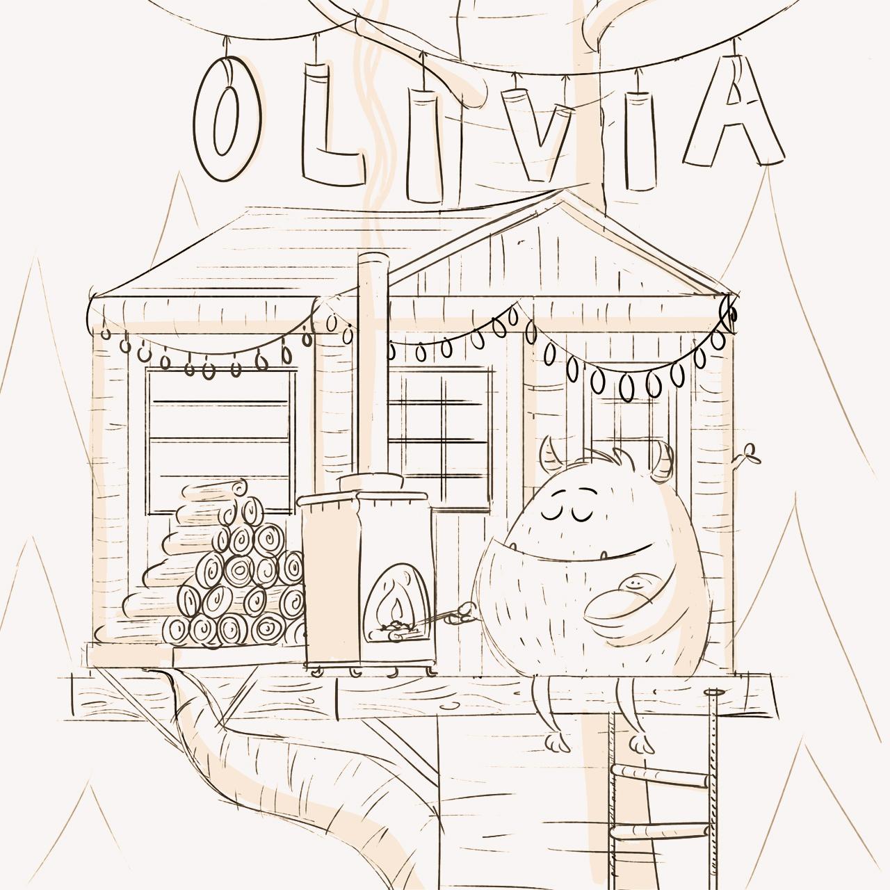 Een voorbeeld van een schets voor een geboortekaartje.
