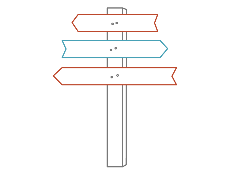 Graphic image of three-level wayfinding sign