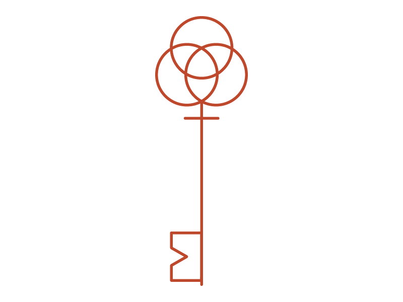 Graphic image of a skeleton key with a Venn diagram on the bow and an M on the bit