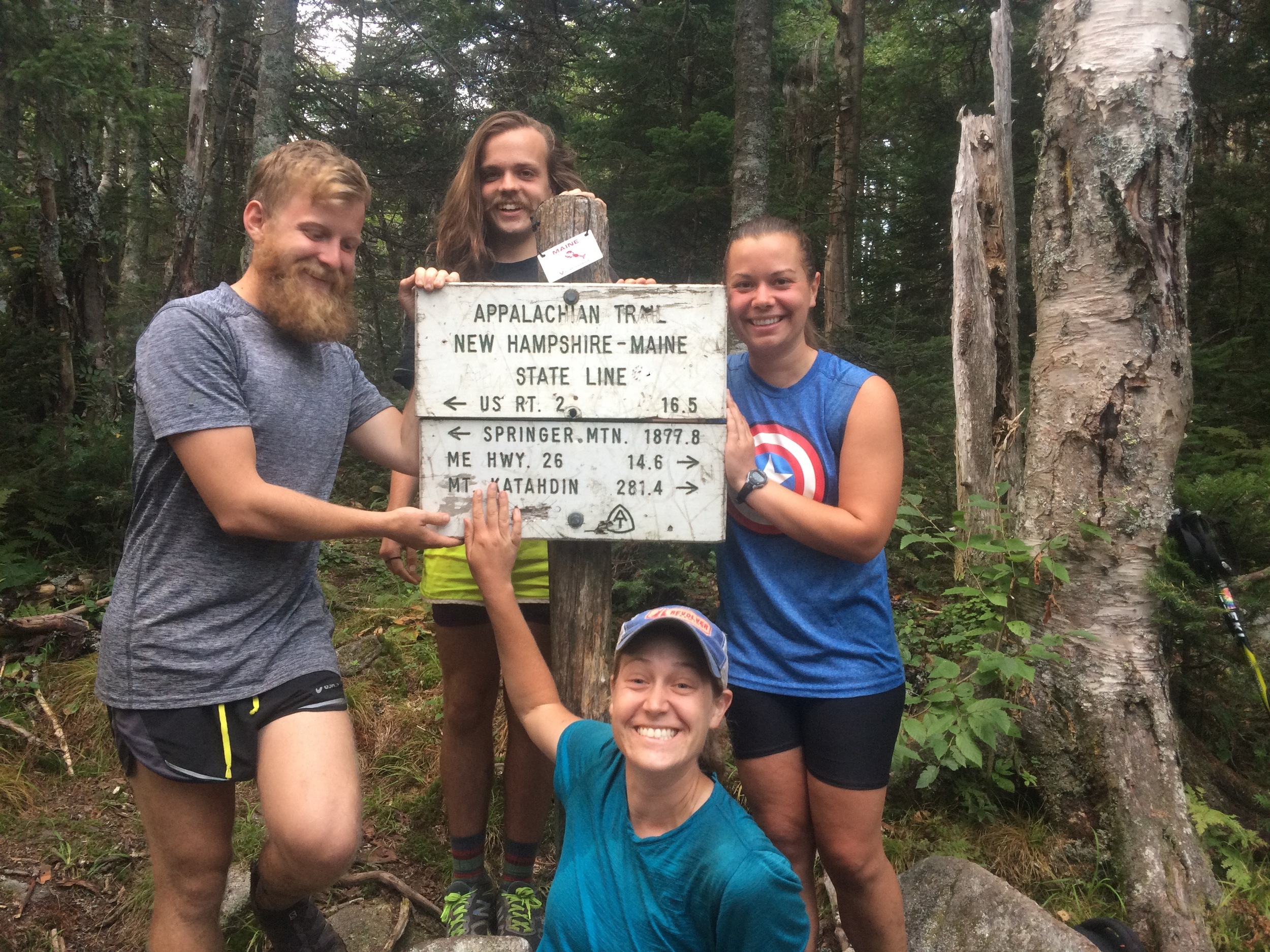 Adios, Neemor, Southpaw and Me at the NH/Maine sign!