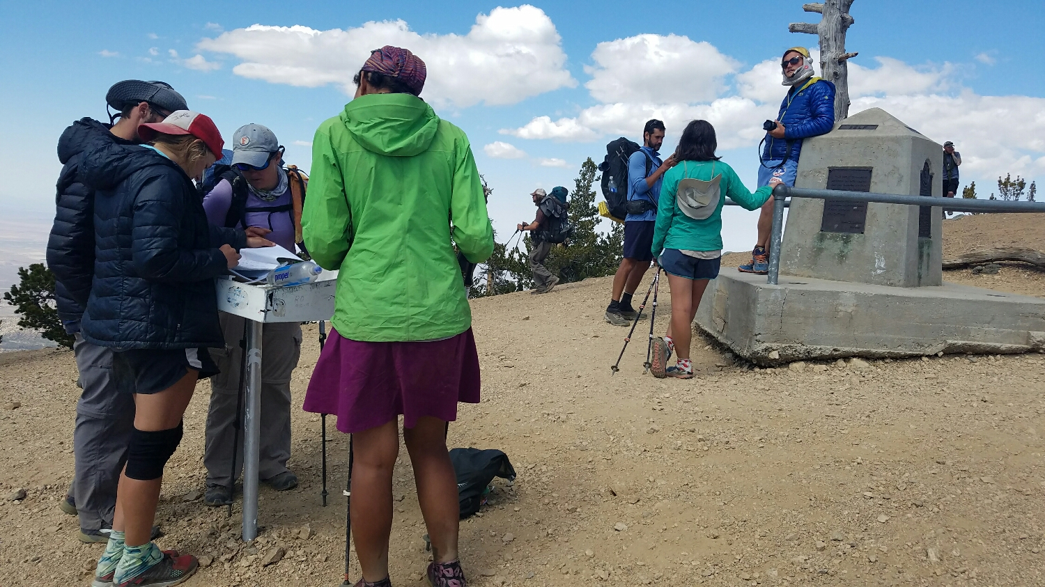 All of us at the summit of Baden-Powell checking out the trail register.