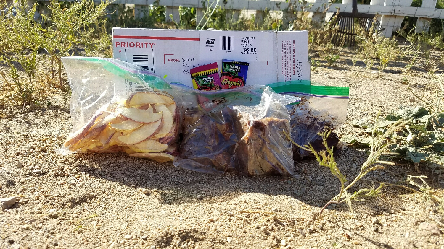 the contents of the box! Some of thru-hiking brownies are already missing...oops
