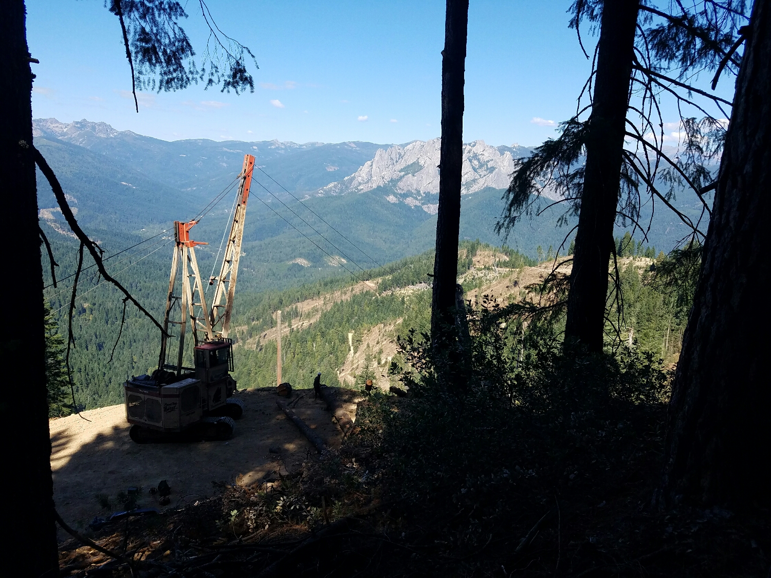 a logging operation right next to the trail.