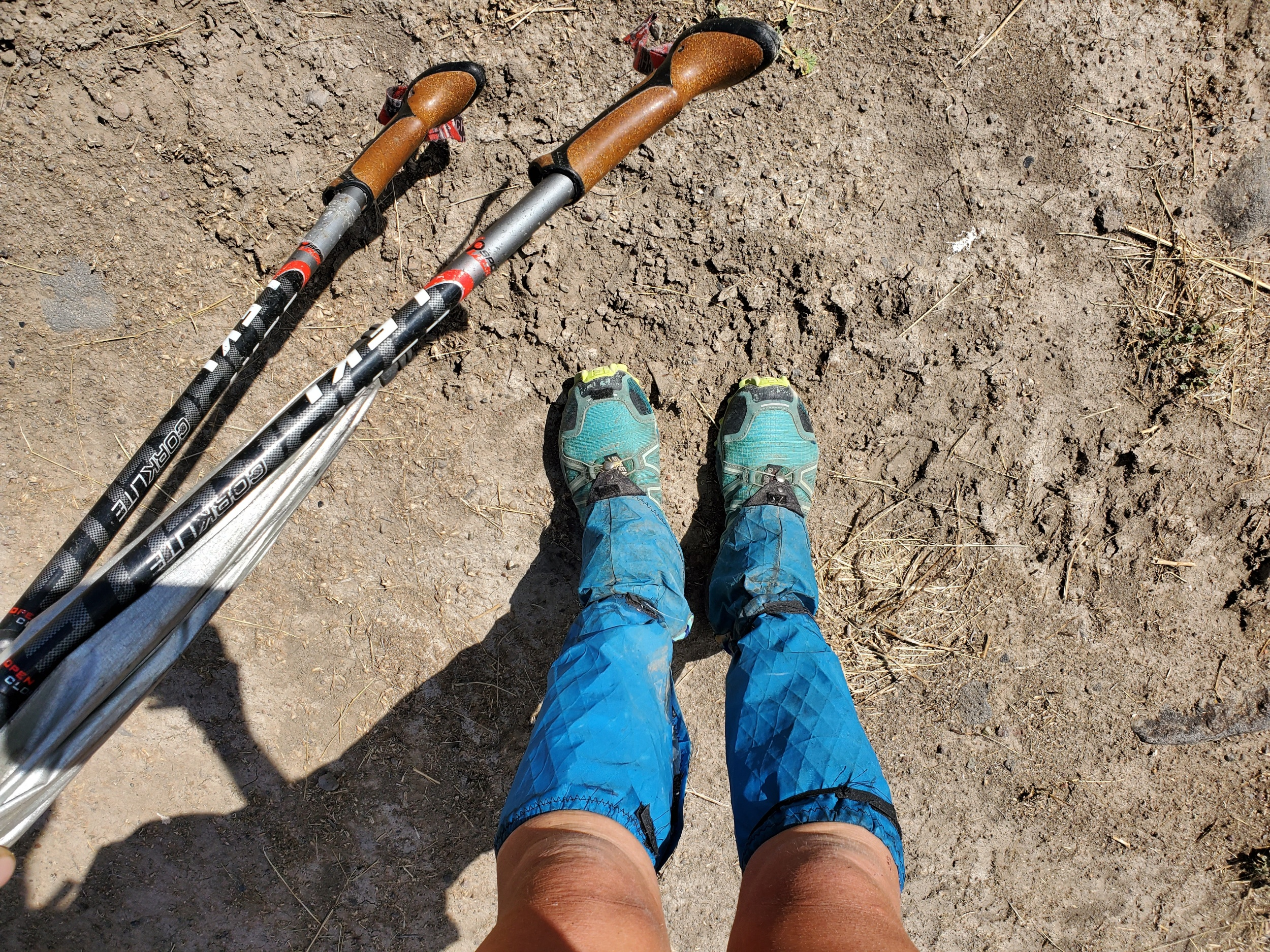 My custom made tall gaiters for the hike. I wanted a pair that were two parts, a short goatee for all condition hiking and a quickly removable top portion for the heavy bushwacking sections.