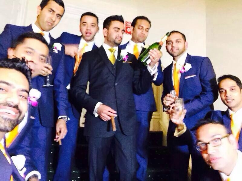 Congratulations to Krishna Shah,  Guardian #27, on his wedding day.    Here he is seen surrounded by his groomsmen, all of whom are brothers of Iota Nu Delta.    The bonds that are created by means of this organization last a lifetime. Our brothers stand aside us in our most significant moments as men. Strangers become friends, and friends become eternal brothers.    Congratulations to Krishna once more.      Photo: Krishna Shah on his wedding day standing next to his groomsmen, his brothers.