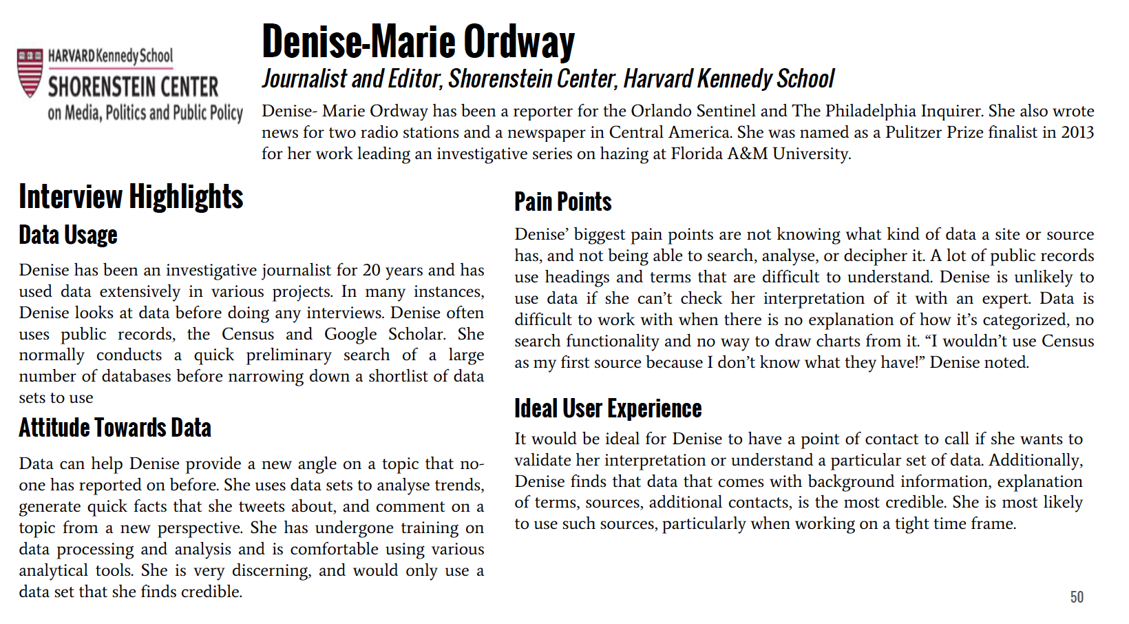 Interview summary for Denise-Marie Ordway, Journalist.